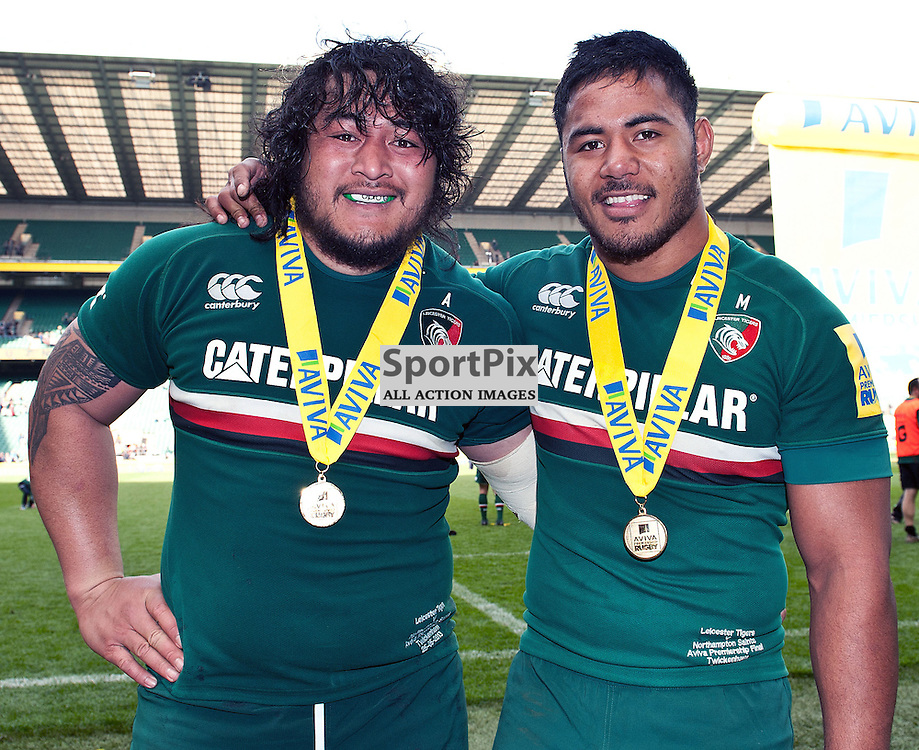 Leicester Tigers players, Logovi'i Mulipola (Tigers) and Manusamoa Tuilagi (Tigers), celebrating after winning the Aviva Premiership Final at Twickenham on the 25th May 2013 WAYNE NEAL | STOCKPIX.EU