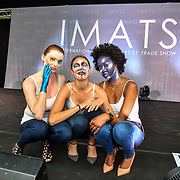 Purple look - Paul Merchant - Kryolan gobal head of makeup - Sketch look - kryolan head of education Gemma Horner - Theatrical look Leanne Simms Kryolan International Educator  demo at IMATS on 18 May 2019,  London, UK.