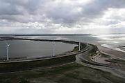Nederland, Zuid-Holland, Rotterdam, 23-10-2013; zicht op De Slufter met Brielse gat en Haringvlietsluizen in de achtergrond.<br /> Dredgings depot Port of Rotterdam with windmills, build in the Nortsea.<br /> luchtfoto (toeslag op standard tarieven);<br /> aerial photo (additional fee required);<br /> copyright foto/photo Siebe Swart