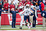 FAYETTEVILLE, AR - OCTOBER 31:  Rohan Gaines #26 of the Arkansas Razorbacks intercepts a pass thrown to Caylon Weathers #81 of the UT Martin Skyhawks at Razorback Stadium on October 31, 2015 in Fayetteville, Arkansas.  The Razorbacks defeated the Skyhawks 63-28.  (Photo by Wesley Hitt/Getty Images) *** Local Caption *** Rohan Gaines; Caylon Weathers