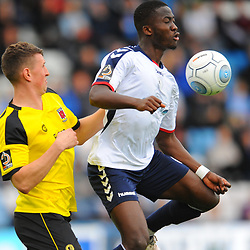 TELFORD COPYRIGHT MIKE SHERIDAN 13/10/2018 - Daniel Udoh of AFC Telford holds off Adam Blakeman during the Vanarama National League North fixture between AFC Telford United and Chorley