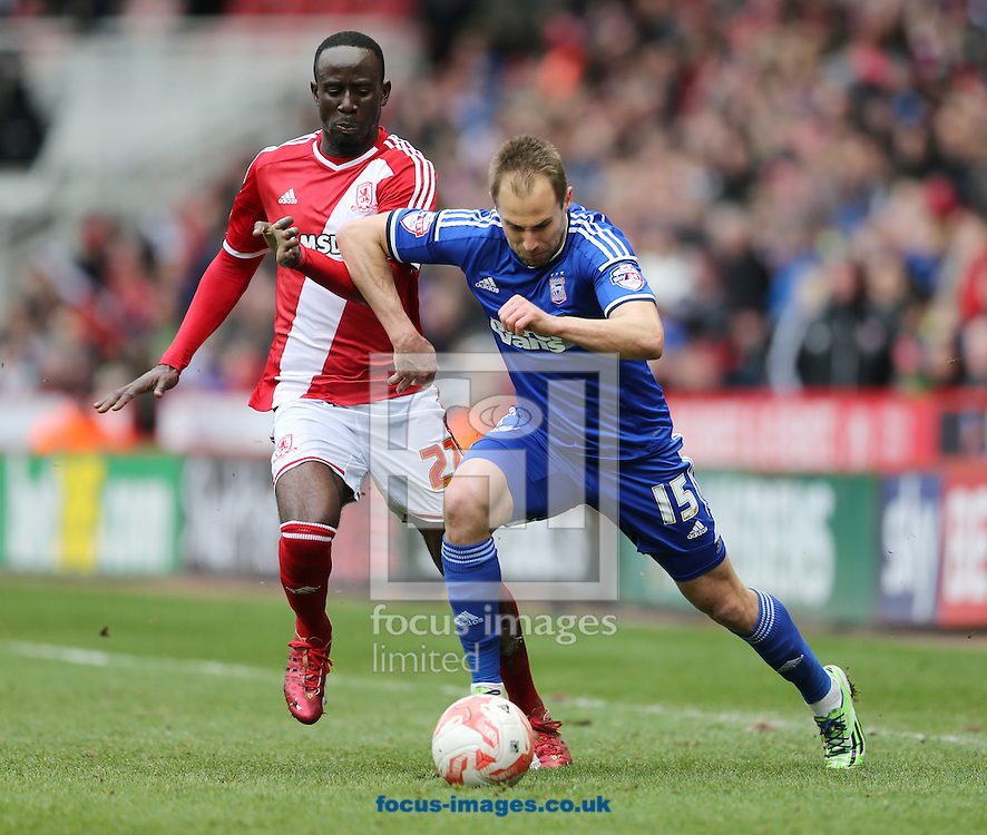 Albert Adomah (l) of Middlesbrough and Luke Varney of Ipswich Town during the Sky Bet Championship match at the Riverside Stadium, Middlesbrough<br /> Picture by Simon Moore/Focus Images Ltd 07807 671782<br /> 14/03/2015