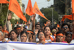 November 12, 2016 - Kolkata, West Bengal, India - Hindu Jagran Manch organized a rally from College Street to Rani Rashmoni Avenue for protection of Fundamental rights of Hindu in West Bengal. In recent year place like Hazinagar, Halisahar, Chandannagar, Khargapur in West Bengal several Hindu injured in communal violence. (Credit Image: © Saikat Paul/Pacific Press via ZUMA Wire)