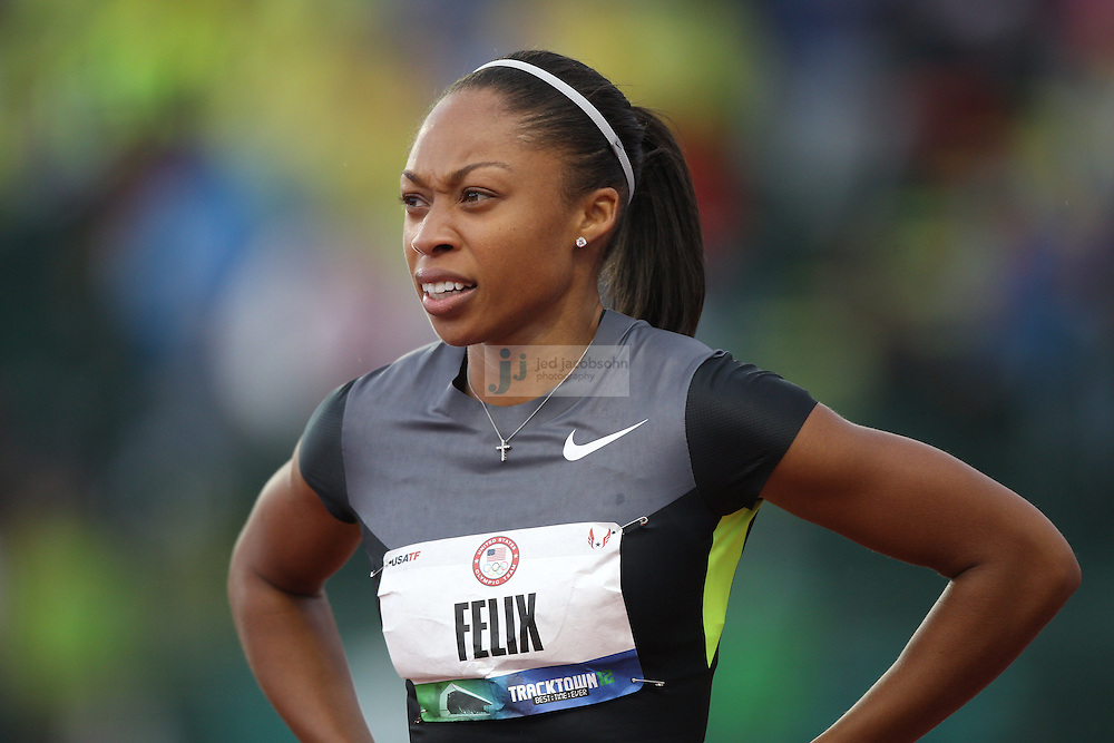 Allyson Felix looks on after the 100m dash during day 1 of the U.S. Olympic Trials for Track & Field at Hayward Field in Eugene, Oregon, USA 22 Jun 2012..(Jed Jacobsohn/for The New York Times)....