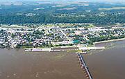 Aerial photograph of Guttenberg, Iowa, and Lock & Dam #10.