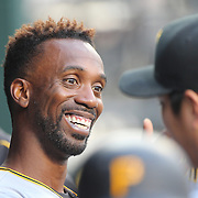 NEW YORK, NEW YORK - June 16: Andrew McCutchen #22 of the Pittsburgh Pirates in the dugout during the Pittsburgh Pirates Vs New York Mets regular season MLB game at Citi Field on June 16, 2016 in New York City. (Photo by Tim Clayton/Corbis via Getty Images)