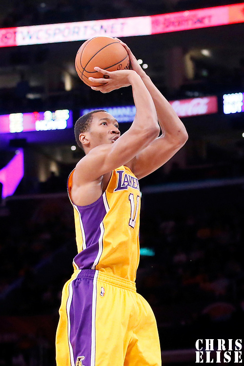 11 February 2014: Los Angeles Lakers small forward Wesley Johnson (11) takes a jumpshot during the Utah Jazz 96-79 victory over the Los Angeles Lakers at the Staples Center, Los Angeles, California, USA.