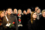 16.02.2015. Copenhagen, Denmark.<br /> Prime Minister Helle Thorning-Schmidt and Crown Prince Frederik attended a memorial rally for the victims and those injured in the attacks respectively Krudtt&oslash;nden and synagogue in Copenhagen.<br /> Photo: &copy; Ricardo Ramirez