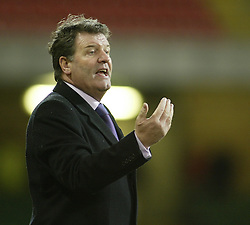 CARDIFF, WALES - WEDNESDAY FEBRUARY 9th 2005: Wales' manager John Toshack shout instuctions during his sides 2-0 win over  Hungary's in the International Friendly match at the Millennium Stadium. (Pic by Jason Cairnduff/Propaganda)