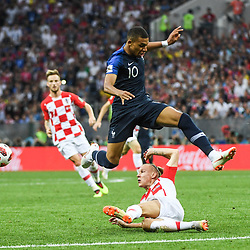 Kyian Mbappe of France and Domagoj Vida of Croatia during the World Cup Final match between France and Croatia at Luzhniki Stadium on July 15, 2018 in Moscow, Russia. (Photo by Anthony Dibon/Icon Sport)