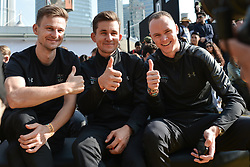 October 28, 2017 - Shanghai, China - (Left-Right)  Michal Golas (POL), Michal Kwiatkowski (POL) and Christopher FROOME (GBR) from Team SKY, during the 1st TDF Shanghai Criterium 2017 - Media Day..On Saturday, 28 October 2017, in Shanghai, China. (Credit Image: © Artur Widak/NurPhoto via ZUMA Press)