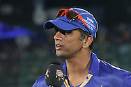 Rajasthan Royals captain Rahul Dravid at the toss during the first semi-final match of the Karbonn Smart Champions League T20 (CLT20) 2013 between The Rajasthan Royals and the Chennai Superkings held at the Sawai Mansingh Stadium in Jaipur on the 4th October 2013<br /> <br /> Photo by Shaun Roy-CLT20-SPORTZPICS<br /> <br /> Use of this image is subject to the terms and conditions as outlined by the CLT20. These terms can be found by following this link:<br /> <br /> http://sportzpics.photoshelter.com/image/I0000NmDchxxGVv4