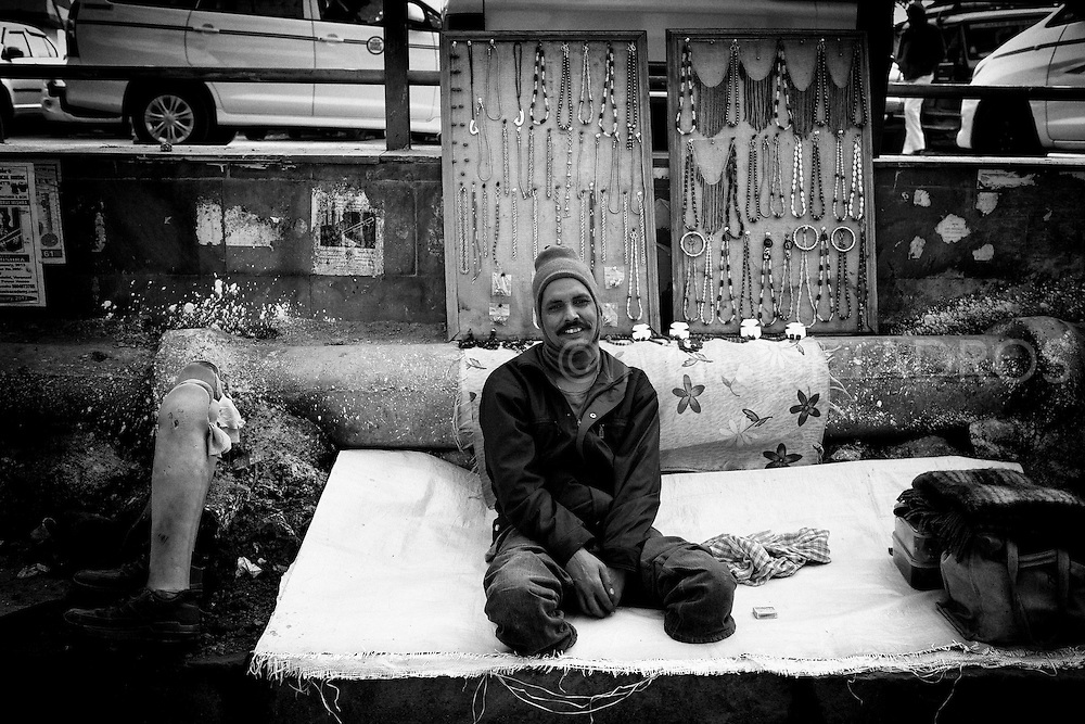 This man lost his leg due to a sickness when he was a child.<br />