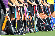 New Zealand's Black Sticks Women line up for the National Anthems. 2011 Golden Summer Series, Black Sticks Women v Korea, Lloyd Elsmore Stadium, Auckland, New Zealand. Saturday 5th February 2011. Photo: Anthony Au-Yeung / photosport.co.nz