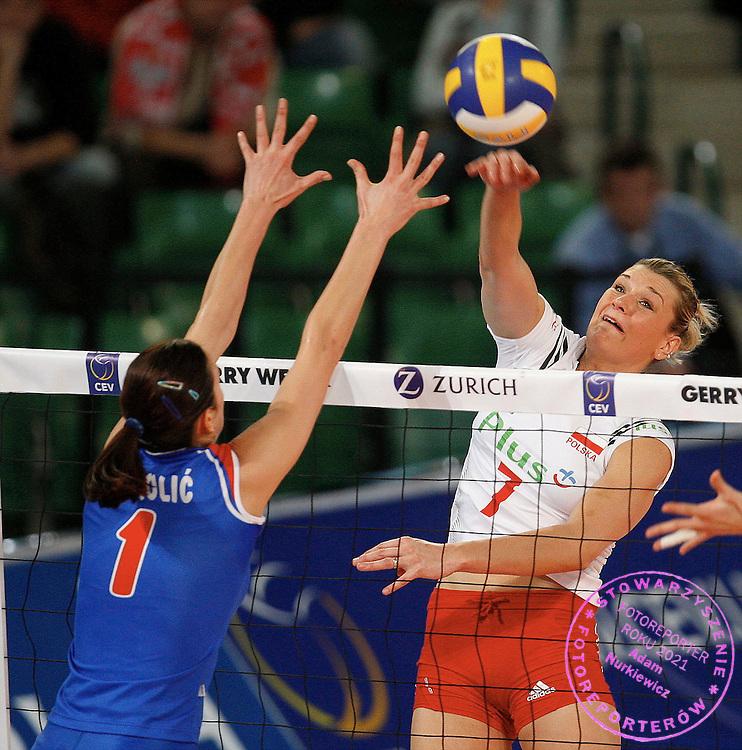 HALLE 18/01/2008.EUROPEAN VOLLEYBALL WOMEN'S OLIMPIC QUALIFICATION.SEMIFINAL.POLAND _ SERBIA.MALGORZATA GLINKA /POL/.FOT. PIOTR HAWALEJ / WROFOTO