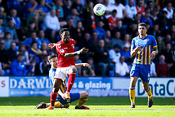 Tariqe Fosu of Charlton Athletic goes past Matthew Sadler of Shrewsbury Town - Mandatory by-line: Robbie Stephenson/JMP - 13/05/2018 - FOOTBALL - Montgomery Waters Meadow - Shrewsbury, England - Shrewsbury Town v Charlton Athletic - Sky Bet League One Play-Off Semi Final