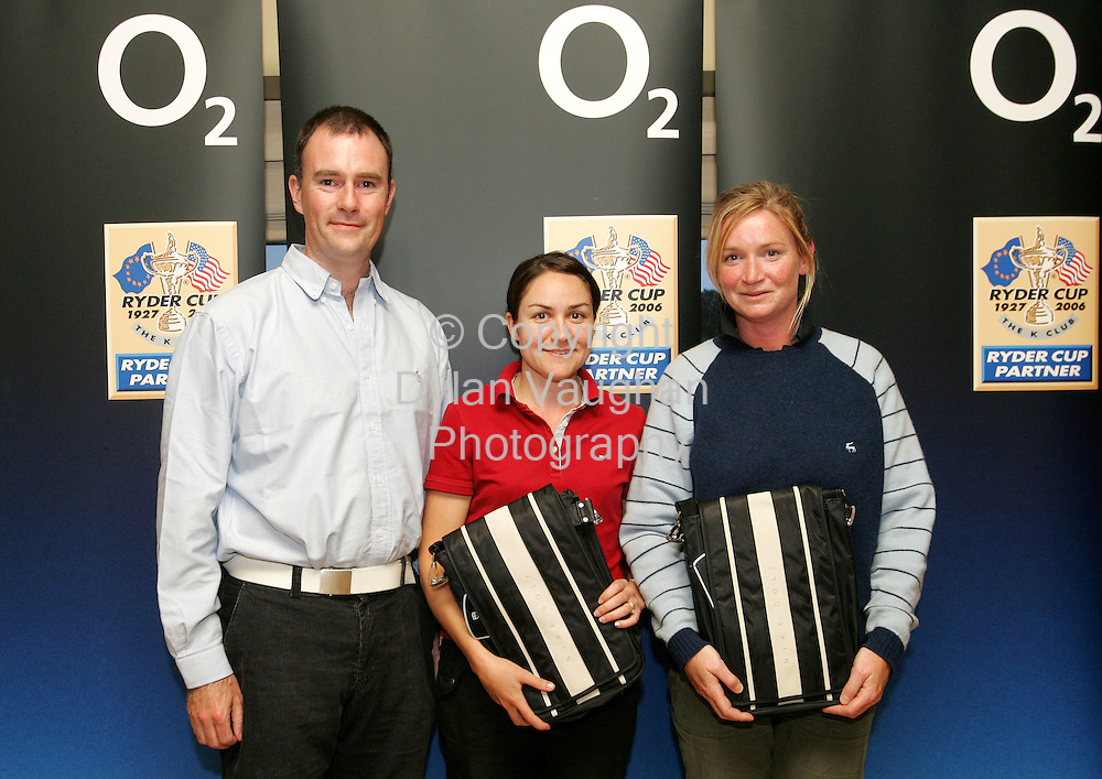 28/6/2006.Pictured at the 02 Masters-All Ireland Golf Challange at Faithleg Golf Course in Waterford was the best placed ladies team from left Wayne Murphy 02 Regional Manager, Katherine Grant Faithleg handicap 20 and Rose Heery Faithleg handicap 22..Picture Dylan Vaughan.