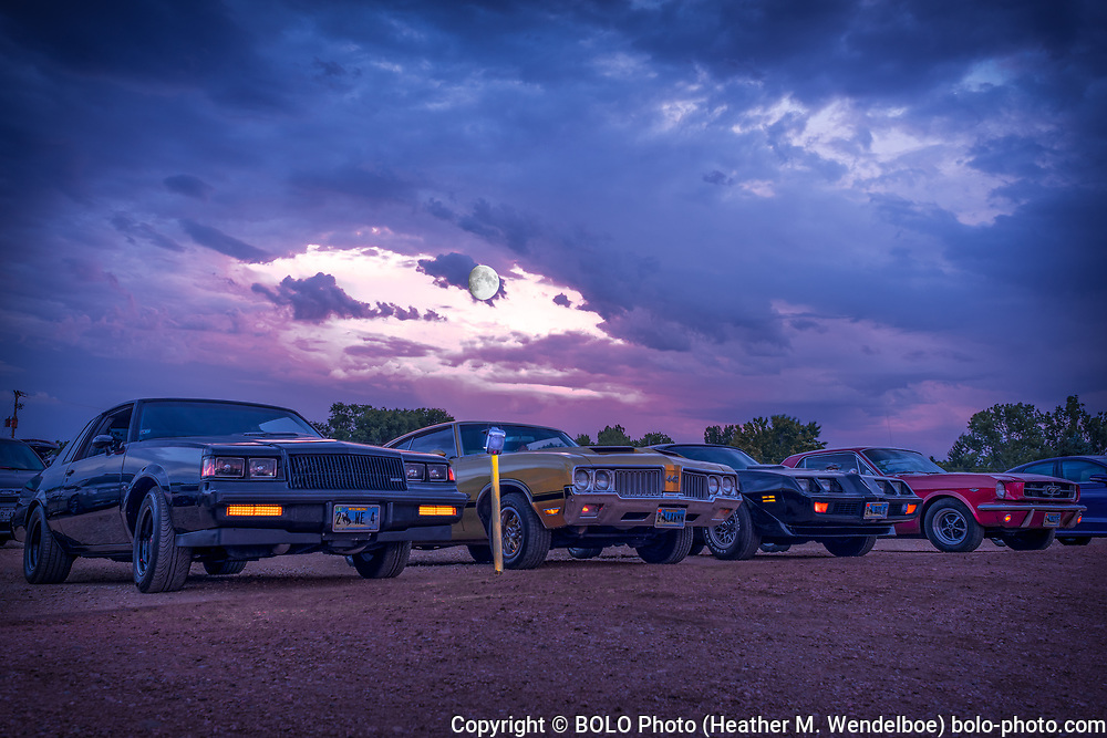 Drive-In Moonrise <br /> 2019: Holiday Twin Drive-In in Fort Collins, Colorado  <br /> =SOLD= $ 388 Original Aluminum Gallery Print 24x36 <br /> $ 71 Limited Edition of 11 Kodak Endura Metallic Photographic Prints (8x12)