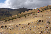 Achupallas - Tuesday, Jan 01 2008: Lorna Brooks on the Inca Trail hike from Achupallas to Ingapirca. (Photo by Peter Horrell / http://www.peterhorrell.com)
