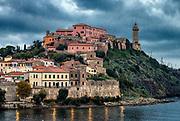 View of the port town of Portoferraio, Elba, Livorno, Italy.