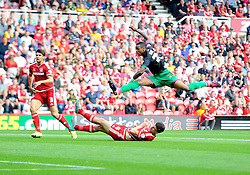 Jonathan Kodjia of Bristol City Shoots  - Mandatory byline: Joe Meredith/JMP - 07966386802 - 22/08/2015 - FOOTBALL - Riverside Stadium -Middlesbrough,England - Middlesbrough v Bristol City - Sky Bet Championship