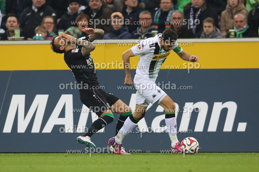 15.03.2015, Borussia Park, Moenchengladbach, GER, 1. FBL, Borussia Moenchengladbach vs Hannover 96, 25. Runde, im Bild Joselu (Hannover 96 #11) geht gegen Martin Stranzl (Borussia Moenchengladbach #39) auf den Boden // 15054000 during the German Bundesliga 25th round match between Borussia Moenchengladbach and Hannover 96 at the Borussia Park in Moenchengladbach, Germany on 2015/03/15. EXPA Pictures &copy; 2015, PhotoCredit: EXPA/ Eibner-Pressefoto/ Schueler<br /> <br /> *****ATTENTION - OUT of GER*****