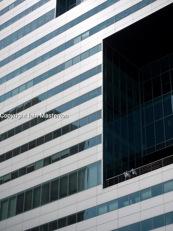 Detail of facade of modern building in new business district at Amsterdam Zuid in The Netherlands