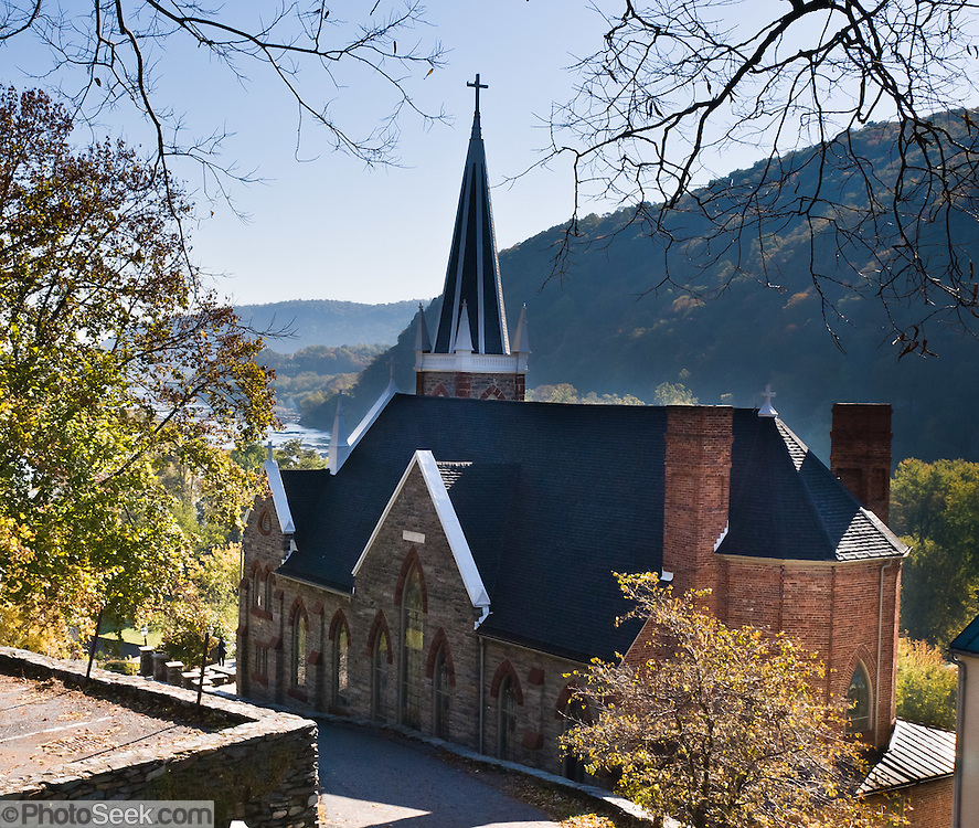 St. Peter's Roman Catholic Church stands prominently above Harpers Ferry, West Virginia, USA. The original church was built in 1833 in a pseudo-Gothic style and escaped destruction in the American Civil War. The church was extensively altered in 1896 in the then-popular Neo-Gothic style to produce the church seen today (listed on the National Register of Historic Places). The church commands a sweeping vista across the gorge of the Shenandoah River above its confluence with the Potomac River. A short trail leads from the church to Jefferson Rock.