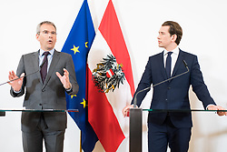 30.04.2019, Bundeskanzleramt, Wien, AUT, Bundesregierung, Pressekonferenz zur Presentation der Steuerreform, im Bild Finanzminister Hartwig Löger (ÖVP) und Bundeskanzler Sebastian Kurz (ÖVP) // Austrian Minister for Finance Hartwig Loeger and Austrian Federal Chancellor Sebastian Kurz during media conference due to fiscal reform at federal chancellors office in Vienna, Austria on 2019/04/30 EXPA Pictures © 2019, PhotoCredit: EXPA/ Michael Gruber