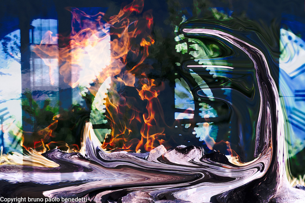 time lost: surreal and symbolic representation. Inside a clock tower reflections and fire on fluid shapes, numbers and wheels of clock work.