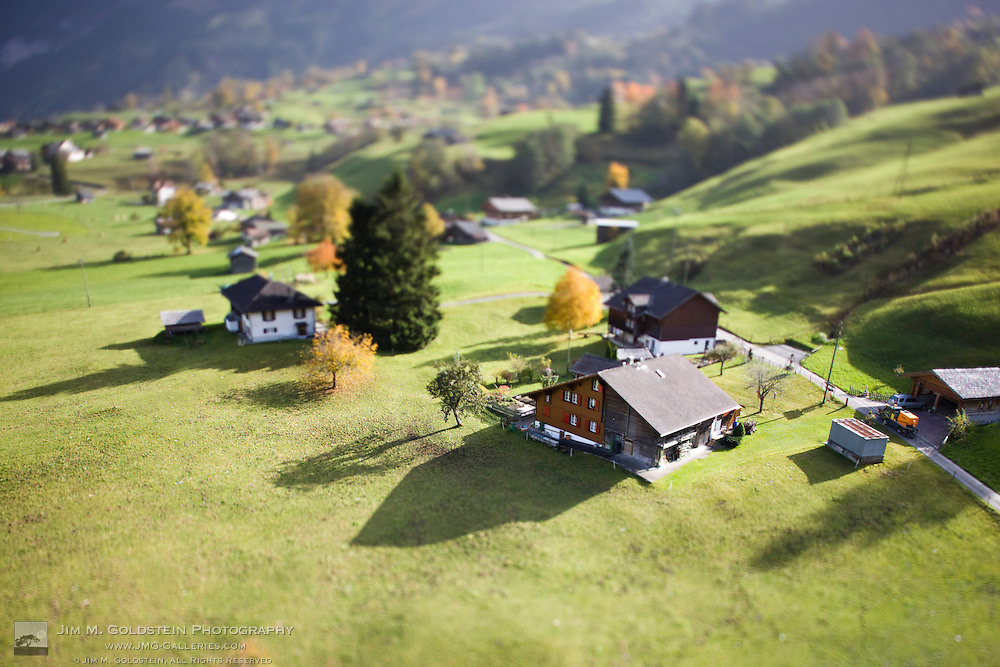 An aerial view of homes on the hillsides of Grindelwald, Switzerland