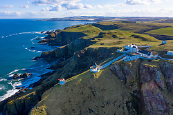 Aerial view of St Abbs Head with lighthouse in Scottish Borders, Scotland, UK