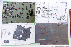 © Licensed to London News Pictures. 13/10/2018. Winchcombe, Gloucestershire, UK. Sudeley Castle. Plans of Sudeley Castle showing locations of archaeological interest. Archaeologists from DigVentures hope to unearth a long-lost Tudor garden at Sudeley Castle this weekend. Best-selling historical novelist Dr Philippa Gregory will also be joining the team. Philippa, who's well-known works include The Other Boleyn Girl and The White Queen, started her research into Sudeley Castle whilst working on a novel about Katherine Parr. For nearly 1,000 years, Sudeley Castle has hosted some of England's most famous monarchs including Henry VIII. It is also where Katherine Parr, Henry's last wife, later lived and was finally laid to rest. A recent geophysical survey at Sudeley revealed the ghostly outline of a long-lost Tudor garden, with traces of what could have been a banqueting house in the same area where pieces of Tudor masonry were found in the 19th century. Now experts say it is time to investigate further. The dig will take place at this Saturday and Sunday, October 13 and 14, and is thought to be the most significant archaeological investigation since the discovery of Roman villas on the estate in Victorian times. A specialist team from social archaeology company, DigVentures, will begin an investigation of the site, which aims to 'ground-truth' the geophysics results. They hope to reveal some of the Tudor secrets that remain hidden underground at the castle. Following the popular landscaping movement inspired by Capability Brown, many Tudor gardens were lost, and this is perhaps just one of only two in England where the original paths remain visible. Photo credit: Simon Chapman/LNP