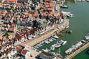 Nederland, Noord-Holland, Volendam, 05-08-2014; vissersdorp Volendam, de dorpskern met 'de dijk': jachthaven, links Zuideinde, rechts Haven.<br /> Historical fishing villlage Volendam<br /> luchtfoto (toeslag op standard tarieven);<br /> aerial photo (additional fee required);<br /> copyright foto/photo Siebe Swart