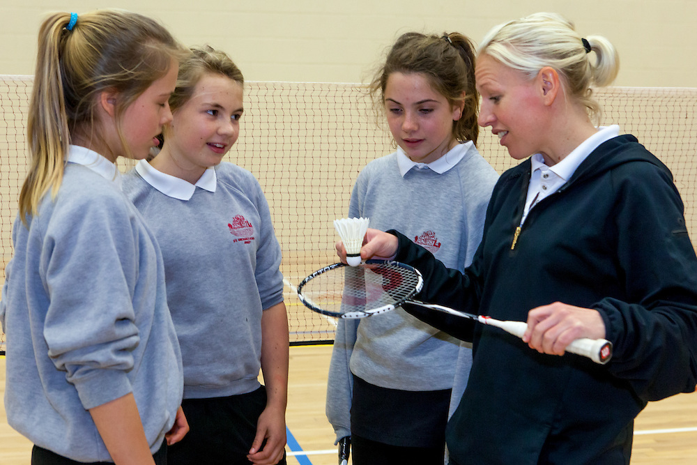 2004 Olympian silver medalist badminton player, Gail Emms works with Lexia Taylor  ,Harriet Swan and Gigi Cooke