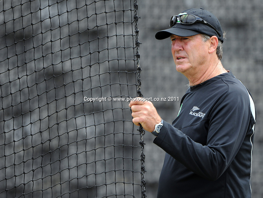 Black Caps Coach John Wright at training ahead of the second cricket test match versus Australia in Hobart. Wednesday 7 December 2011. Photo: Andrew Cornaga/Photosport.co.nz