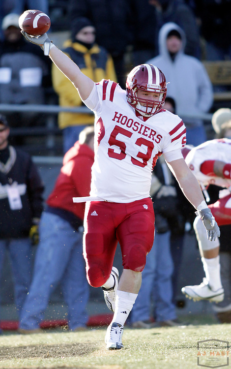 27 November 2010: Indiana Hoosiers linebacker Jeff Thomas (53) as the Purdue Boilermakers played the Indiana Hoosiers in a college football game in West Lafayette, Ind.