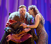 King Lear<br /> Guildford Shakespeare Company Presents <br /> at Holy Trinity Church, Guildford, Surrey, Great Britain <br /> Press photocall <br /> 17th January 2015 <br /> directed by Caroline Devlin <br /> designed by Neil Irish <br /> Lighting by Declan Randal<br /> Sound by Matt Eaton <br /> <br /> Brian Blessed as King Lear <br /> <br /> <br /> Emily Tucker as Cordelia<br /> <br /> <br /> <br /> <br /> <br /> Photograph by Elliott Franks <br /> Image licensed to Elliott Franks Photography Services