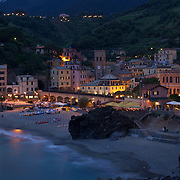 Evening view of the Monterosso Harbor, Italy
