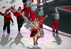 Tonga flag bearer Pita Taufatofua during the Opening Ceremony of the PyeongChang 2018 Winter Olympic Games at the PyeongChang Olympic Stadium in South Korea.