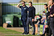 Forest Green Rovers assistant manager, Scott Lindsey and Forest Green Rovers manager, Mark Cooper during the EFL Sky Bet League 2 match between Forest Green Rovers and Milton Keynes Dons at the New Lawn, Forest Green, United Kingdom on 30 March 2019.