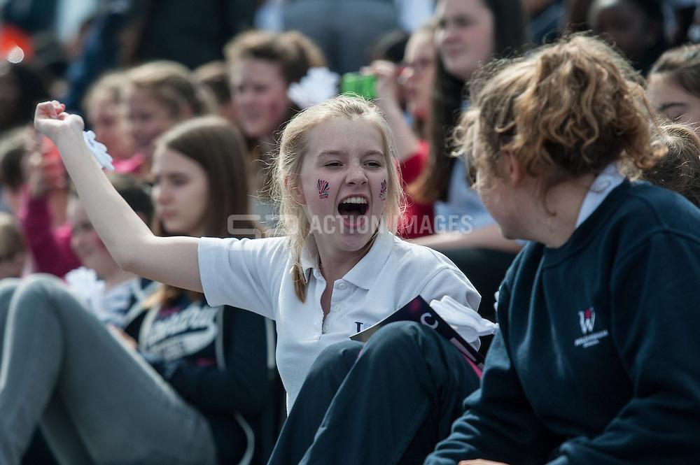 Great Britain v Japan - Schools Event, Lee Valley Hockey & Tennis Centre, London, UK on 27 April 2015. Photo: Simon Parker