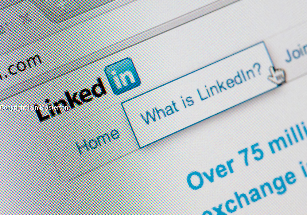 Detail of screenshot from website of Linkedin business social networking website