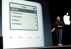 04/28/03, SAN  FRANCISCO, CALIFORNIA, UNITED STATES,  Apple CEO Steve Jobs introduces a new online music service along with new IPOD players and IMusic software in San Francisco, Calif.   --Photo by Kim Kulish