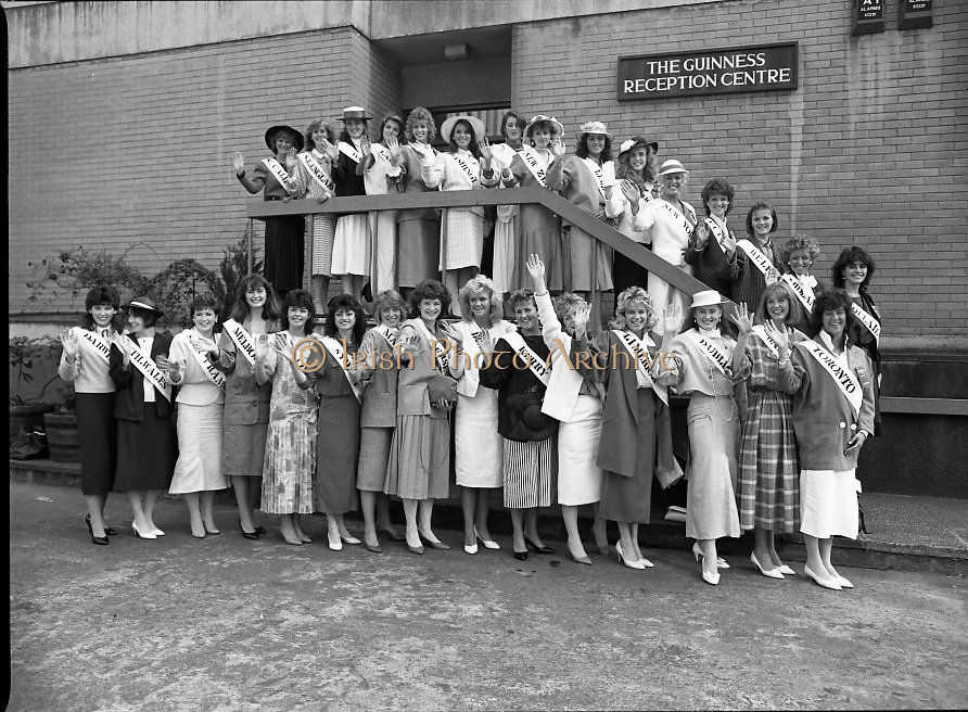 Roses of Tralee at Guinness Brewery..1986.20.08.1986..08.20.1986..20th August 1986..As part of the 50th running of the Rose Of Tralee Festival the thirty Rose contestants were invited to The Guinness Brewery,St James's Gate,Dublin. At the reception in their honour, Mr Pat Healy,Sales Director,Guinness Group Sales,welcomed the roses at the Guinness Reception Centre..Extra: Ms Noreen Cassidy,representing Leeds,went on to win the title of 'Rose Of Tralee'...Image of the 30 rose of Tralee contestants as they pose for pictures at the Guinness Reception Centre,St James's Gate,Dublin. By the sashes we can see that the girls travelled from far and wide to enter the competition.