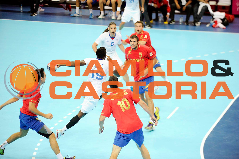 DESCRIZIONE : Handball Jeux Olympiques Londres Quart de Finale<br /> GIOCATORE : Abalo Luc FRA<br /> SQUADRA : France Homme<br /> EVENTO : FRANCE Handball Jeux Olympiques<br /> GARA : France Espagne<br /> DATA : 08 08 2012<br /> CATEGORIA : handball Jeux Olympiques<br /> SPORT : HANDBALL<br /> AUTORE : JF Molliere <br /> Galleria : France JEUX OLYMPIQUES 2012 Action<br /> Fotonotizia : France Handball Homme Jeux Olympiques Londres Quart de Finale Basketball Arena<br /> Predefinita :