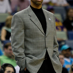 April 11, 2011; New Orleans, LA, USA; New Orleans Hornets head coach Monty Williams against the Utah Jazz during the fourth quarter at the New Orleans Arena. The Jazz defeated the Hornets 90-78.  Mandatory Credit: Derick E. Hingle