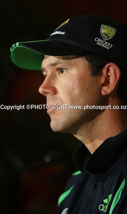 Australian cricket captain Ricky Ponting at a press conference ahead of the Chappell Hadlee Trophy 3 match series that starts tomorrow.<br />