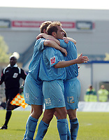 Photo: Kevin Poolman.<br />Milton Keynes Dons v Tranmere Rovers. Coca Cola League 1. 29/04/2006. Jason McAteer and fellow players celebrate their win.