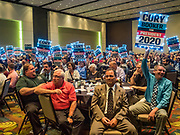 09 JUNE 2019 - CEDAR RAPIDS, IOWA: Supports of Senator Cory Booker wave his campaign signs in the Iowa Democrats 2019 Hall of Fame Celebration in the Cedar Rapids Convention Center. Nineteen of the Democratic candidates for president in 2020 spoke at the annual event. Iowa traditionally hosts the the first election event of the presidential election cycle. The Iowa Caucuses will be on Feb. 3, 2020.                          PHOTO BY JACK KURTZ